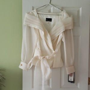 Ivory Dressy V-Neck Wrap Blouse
